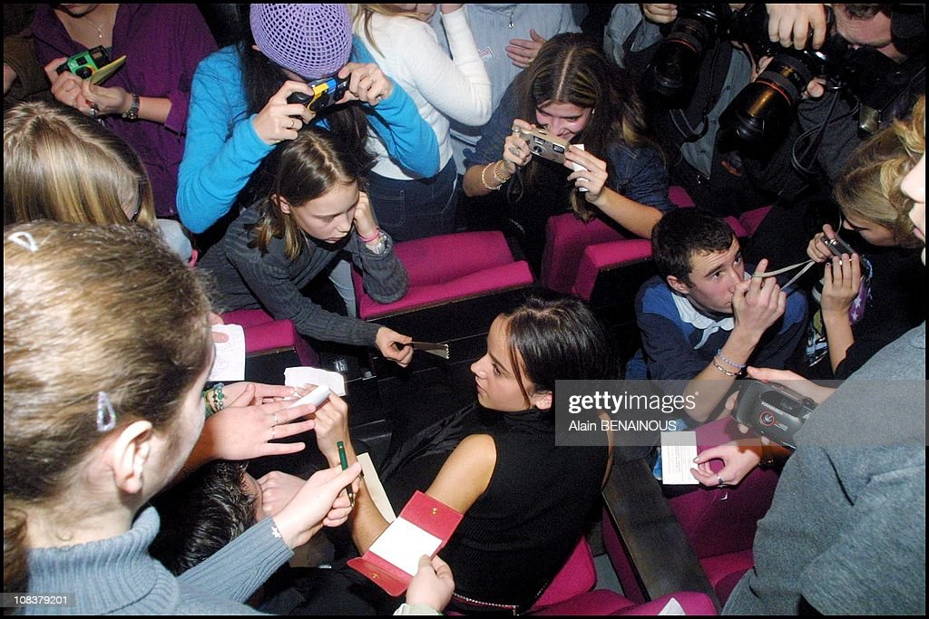 Alizee in Paris, France on January 25, 2001