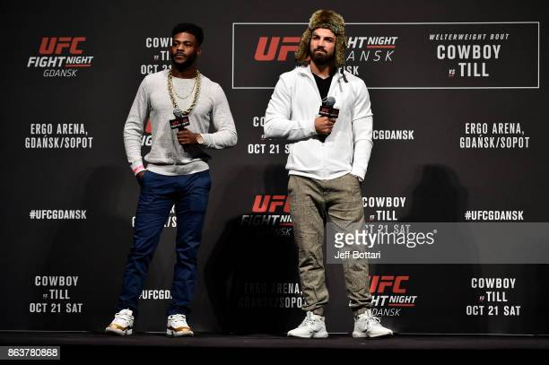 Aljamain Sterling and Mike Perry interact with fans during a QA session before the UFC Fight Night Weighin inside Ergo Arena on October 20 2017 in...