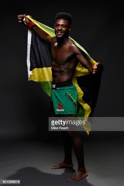 Aljamain Sterling poses for a portrait backstage after his victory over Renan Barao of Brazil during the UFC 214 event at Honda Center on July 29...
