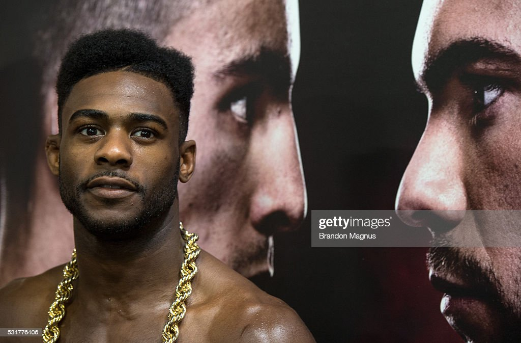 Aljamain Sterling speaks to the media at the Las Vegas Harley-Davidson on May 27, 2016 in Las Vegas Nevada.