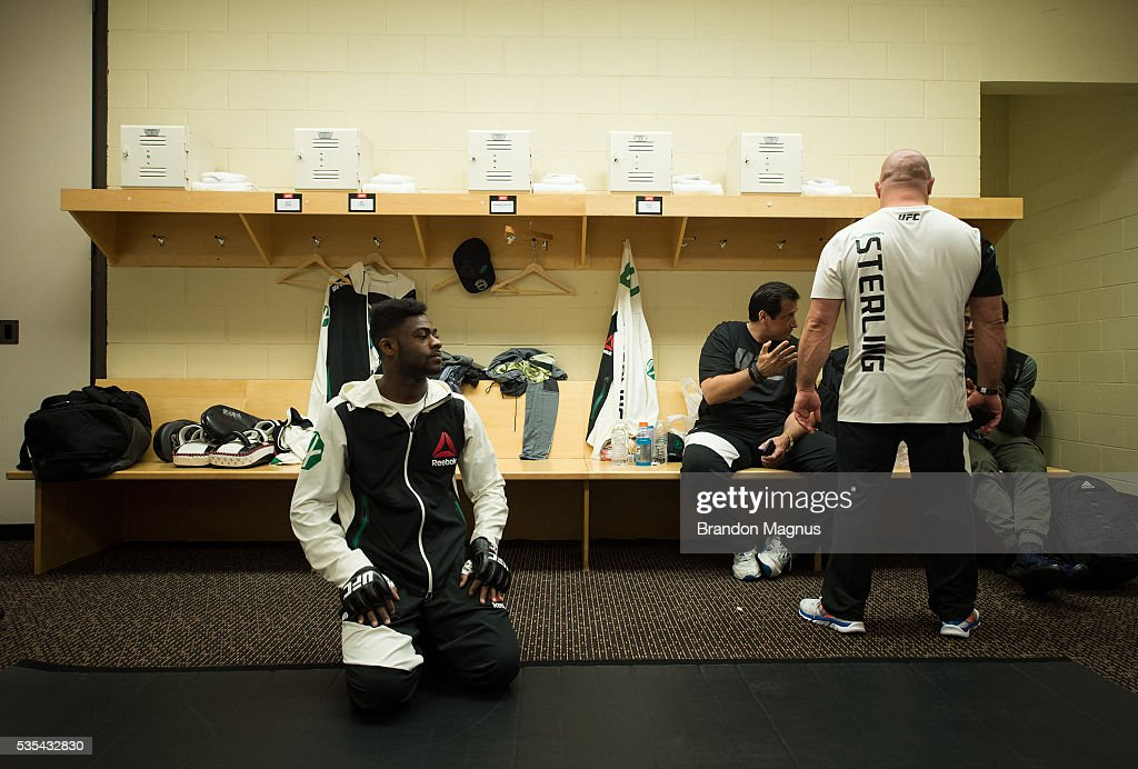 Aljamain Sterling warms up backstage during the UFC Fight Night Event inside the Mandalay Bay Events Center on May 29, 2016 in Las Vegas Nevada.