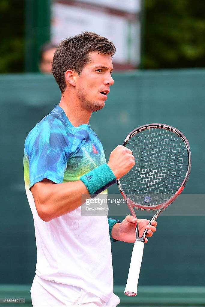 Aljaz Bedene during the Men's Singles first round on day three of the French Open 2016 at Roland Garros on May 24, 2016 in Paris, France.