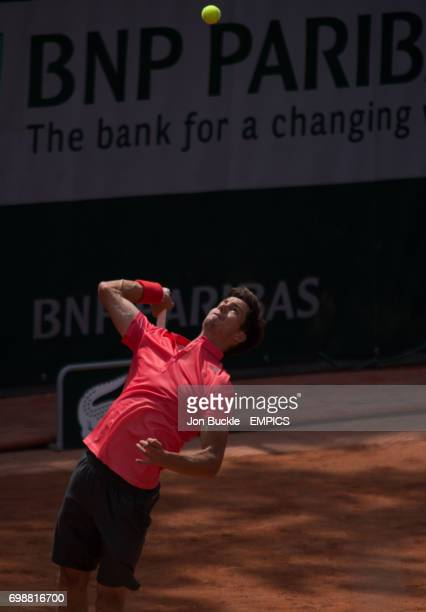 Aljaz Bedene in action during his 1st round men's singles match against Dominic Thiem on day two of the French Open at Roland Garros on May 25 2015...