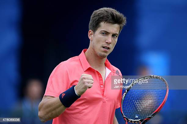 Aljaz Bedene of Great Britain celebrates against Diego Schwartzman of Argentina on day two of the Aegon Open Nottingham at Nottingham Tennis Centre...