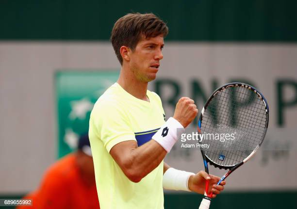 Aljaz Bedene of Great Britain celebrates during the mens singles first round match against Ryan Harrison of The United States on day two of the 2017...