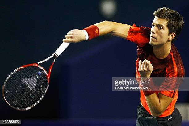 Aljaz Bedene of Great Britain in action against Marcel Granollers of Spain during Day 1 of the BNP Paribas Masters held at AccorHotels Arena on...