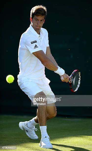 Aljaz Bedene of Great Britain in action on his way to winning his Gentlemens Singles first round match against Radek Stepanek of the Czech Republic...