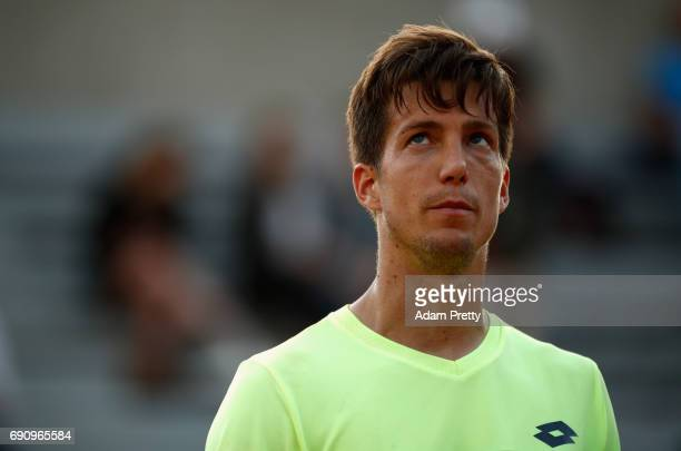 Aljaz Bedene of Great Britain looks on during the mens singles second round match against Jiri Vesely of The Czech Republic on day four of the 2017...