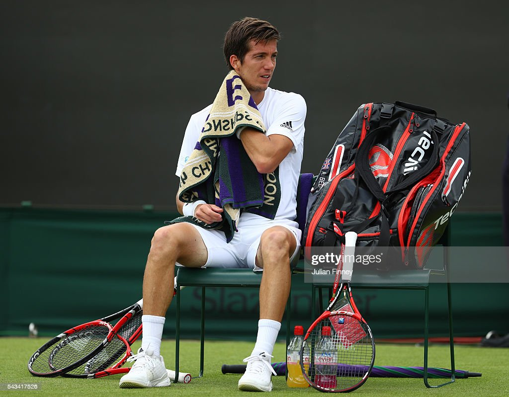 Aljaz Bedene of Great Britain looks on following defeat during the Men's Singles first round match against Richard Gasquet of Franceon day two of the Wimbledon Lawn Tennis Championships at the All England Lawn Tennis and Croquet Club on June 28, 2016 in London, England.