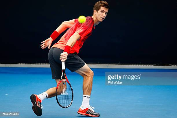 Aljaz Bedene of Great Britain plays a backhand against Sam Querrey of the USA in their singles match on Day 8 of the ASB Classic on January 12 2016...