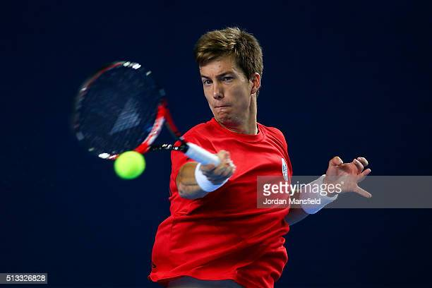 Aljaz Bedene of Great Britain plays a forehand during a practice session ahead of the start of the Davis Cup tie between Great Britain and Japan at...