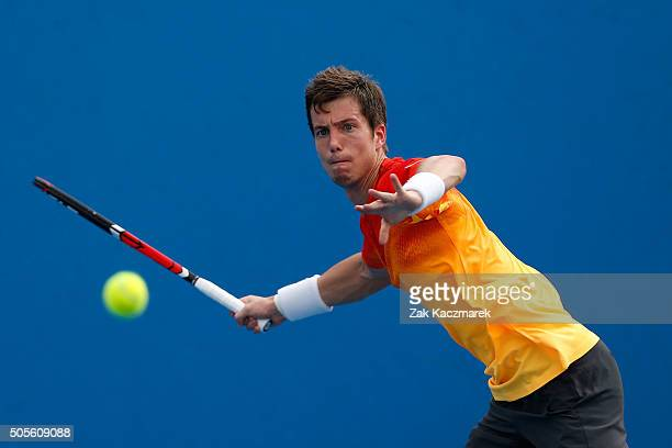 Aljaz Bedene of Great Britain plays a forehand in his first round match against Steve Johnson of the United States during day two of the 2016...