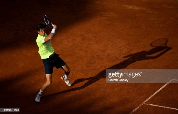 Aljaz Bedene of Great Britain plays a shot during his second round match against Novak Djokovic of Serbia in The Internazionali BNL d'Italia 2017 at...