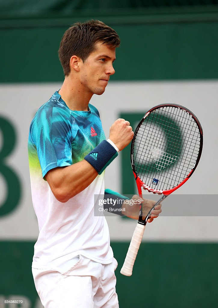 Aljaz Bedene of Great Britain reacts during the Men's Singles second round match against Pablo Careeno Busta of Spain on day five of the 2016 French Open at Roland Garros on May 26, 2016 in Paris, France.
