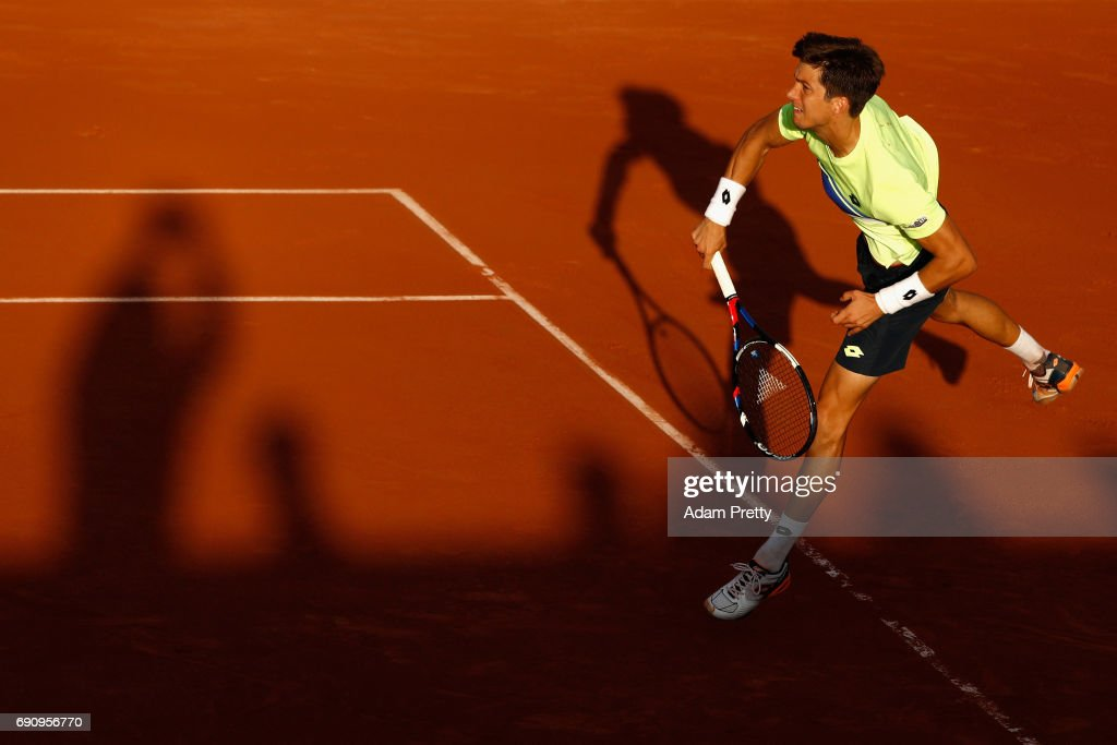 Aljaz Bedene of Great Britain serves during the mens singles second round match against Jiri Vesely of The Czech Republic on day four of the 2017 French Open at Roland Garros on May 31, 2017 in Paris, France.