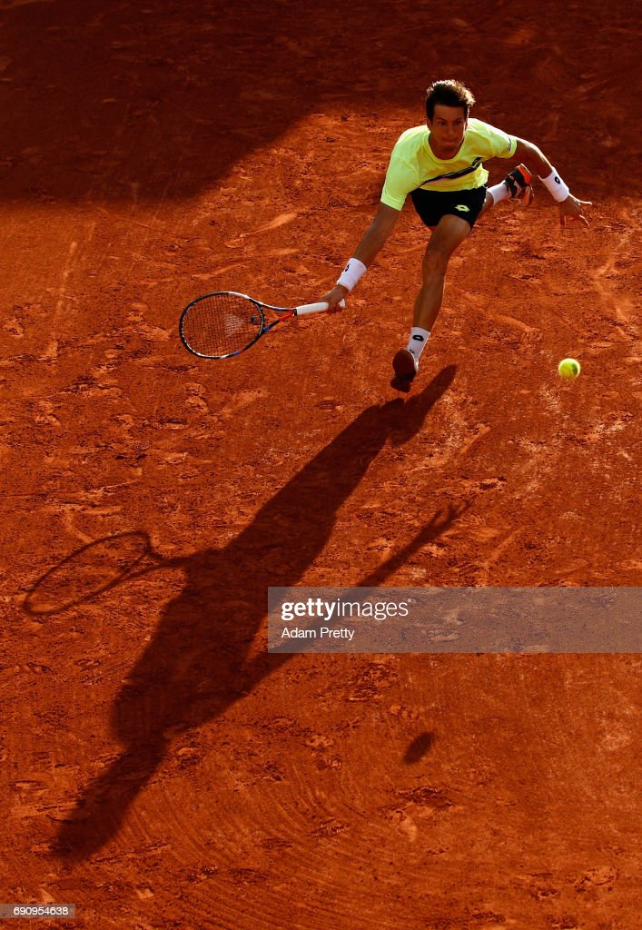Aljaz Bedene of Great Britain stretches for a forehand during the mens singles second round match against Jiri Vesely of The Czech Republic on day four of the 2017 French Open at Roland Garros on May 31, 2017 in Paris, France.