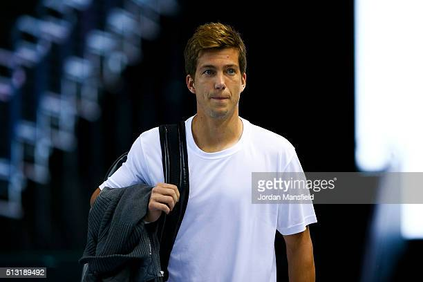 Aljaz Bedene of Great Britain walks onto the court for a practice session ahead of the start of the Davis Cup tie between Great Britain and Japan at...