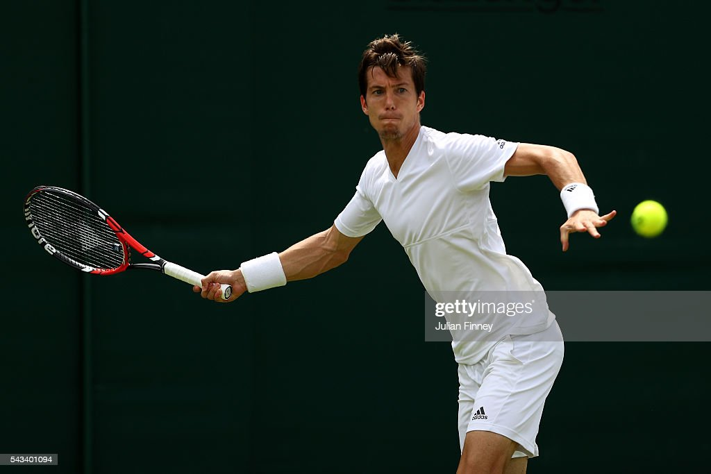 Aljaz Bedene of Great BritAnnika Beck of Great Britain plays a forehand during the Men's Singles first round match against Richard Gasquet of France on day two of the Wimbledon Lawn Tennis Championships at the All England Lawn Tennis and Croquet Club on June 28, 2016 in London, England.