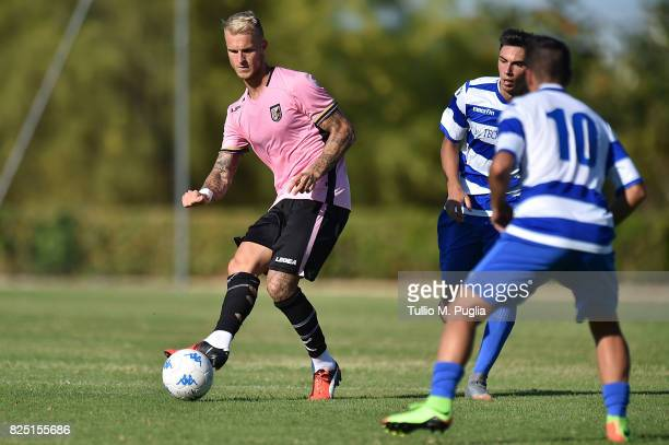 Aljaz Struna of Palermo in action during a friendly match between US Citta' di Palermo and Monreale at Carmelo Onorato training center on July 30...