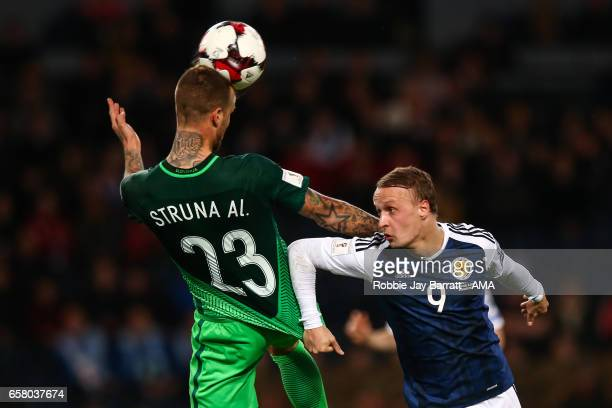 Aljaz Struna of Slovenia and Leigh Griffiths of Scotland during the FIFA 2018 World Cup Qualifier between Scotland and Slovenia at Hampden Park on...