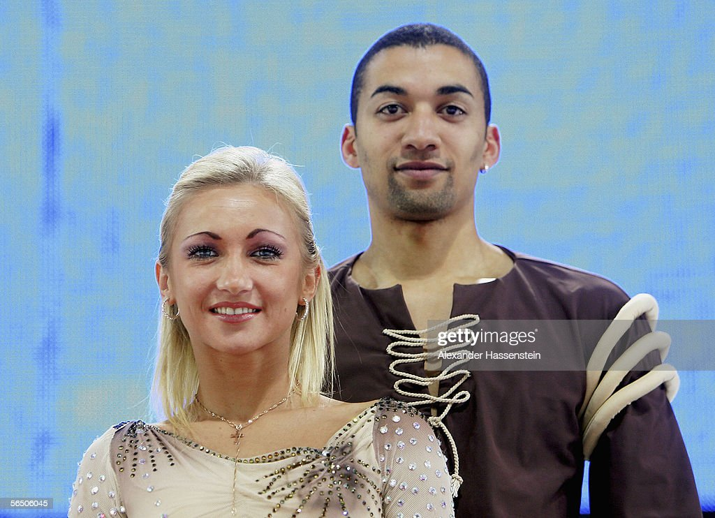 Aljona Savchenko and Robin Szolkowy pose on the podium before receiving their gold medals during the German National Figure Skating Championships at the Sports Forum Hohenschoenhausen on December 30, 2005 in Berlin, Germany. Ukrainian born Aljona Savchenko received her German passport on December 29 and will now compete for Germany in the Winter Olympics in Turin in February.