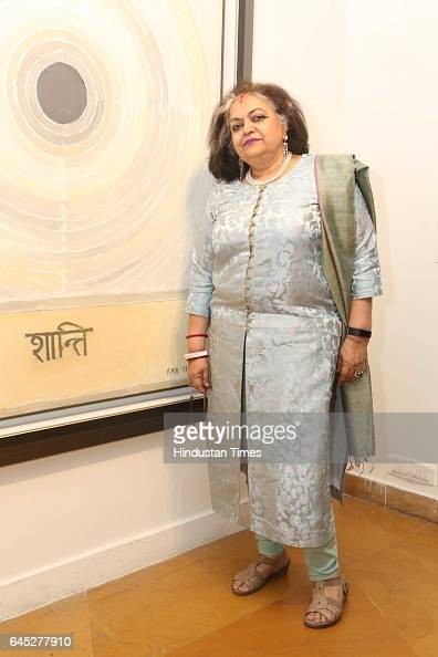 Alka Pande during the 95th birth anniversary of late artist SH Raza at Visual Art Gallery IHC on February 22 2017 in New Delhi India Raza who passed...