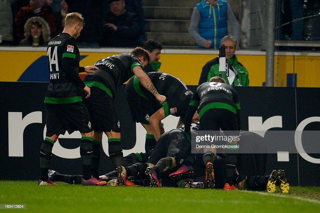 Alkesandar Ignjovski of Bremen celebrates with teammates after scoring a goal during the Bundesliga match between VfL Borussia Moenchengladbach and SV Werder Bremen at Borussia Park Stadium on March 9, 2013 in Moenchengladbach, Germany.
