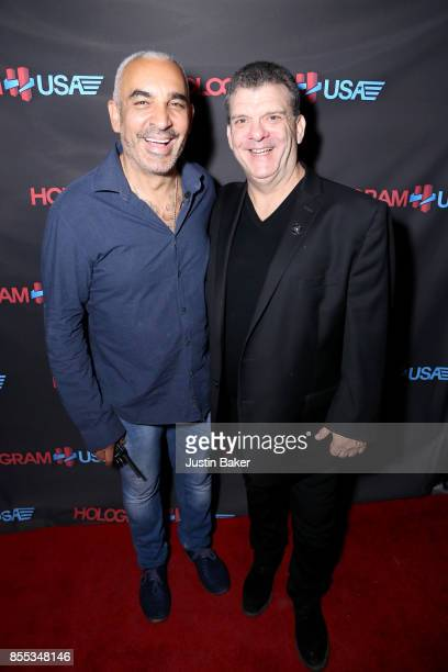 Alki David and Cory Weisman attend Hologram USA's Gala Preview at Hologram USA Theater on September 28 2017 in Los Angeles California