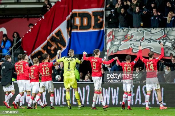 Alkmaar players celebrates the victory Jonas Svensson of AZ Alkmaar Pantelis Hatzidiakos of AZ Alkmaar Marco Bizot of AZ Alkmaar Wout Weghorst of AZ...