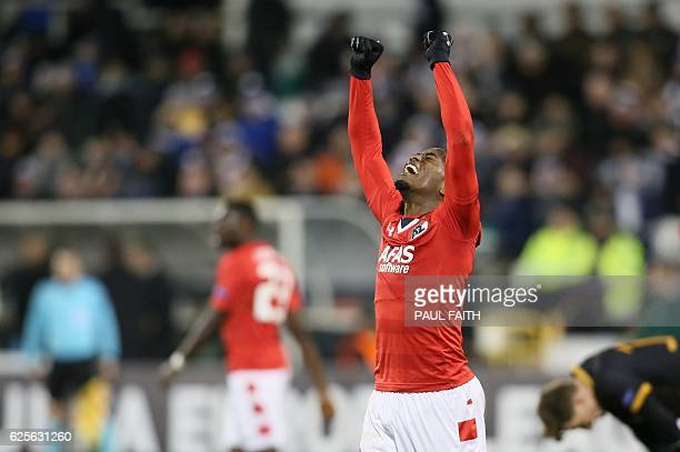 AZ Alkmaar's Dutch defender Ridgeciano Haps celebrates at the end of the UEFA Europa League group D football match between Dundalk and AZ Alkmaar at...