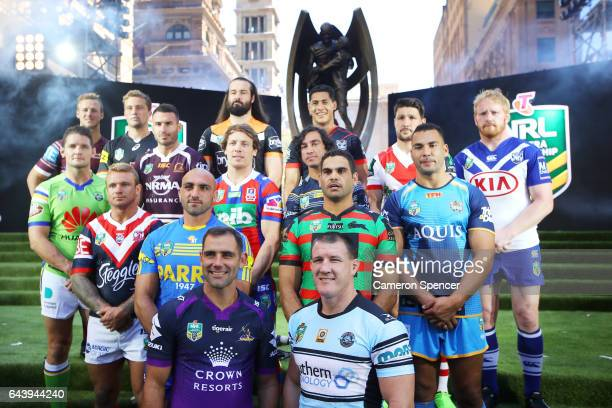 All 16 NRL team captains pose during the 2017 NRL Season Launch at Martin Place on February 23 2017 in Sydney Australia