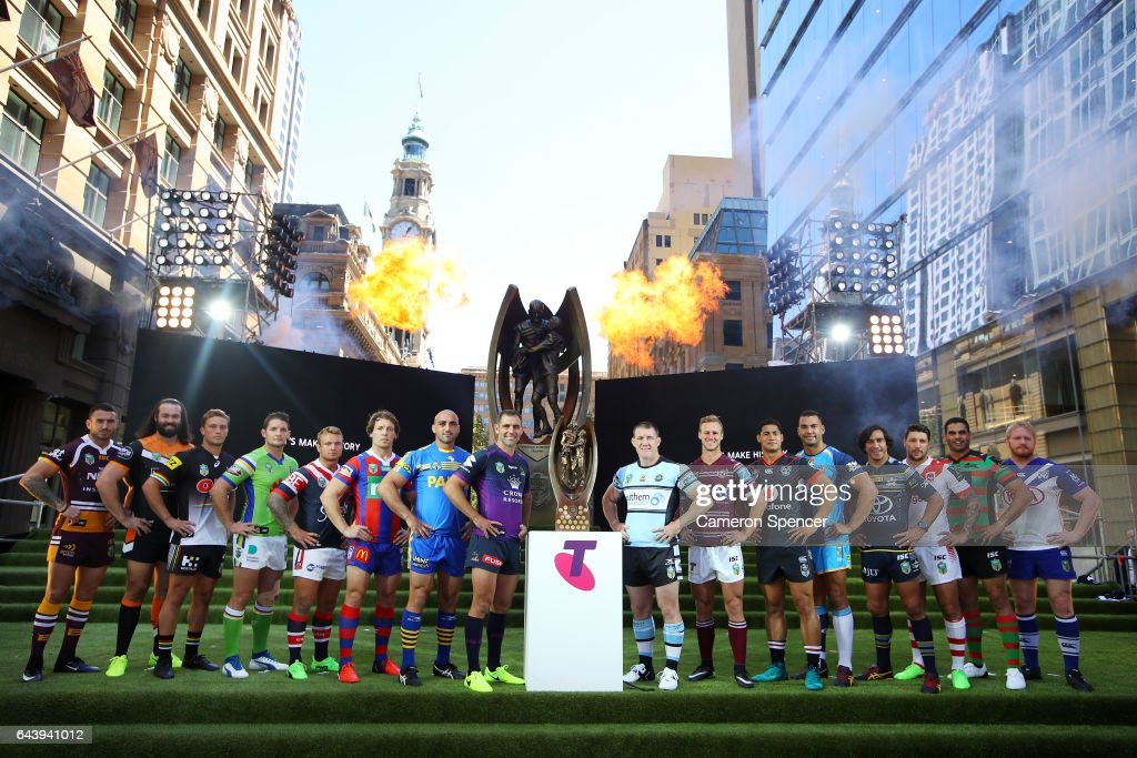 All 16 NRL team captains pose with the Provan Summons Trophy during the 2017 NRL Season Launch at Martin Place on February 23, 2017 in Sydney, Australia.