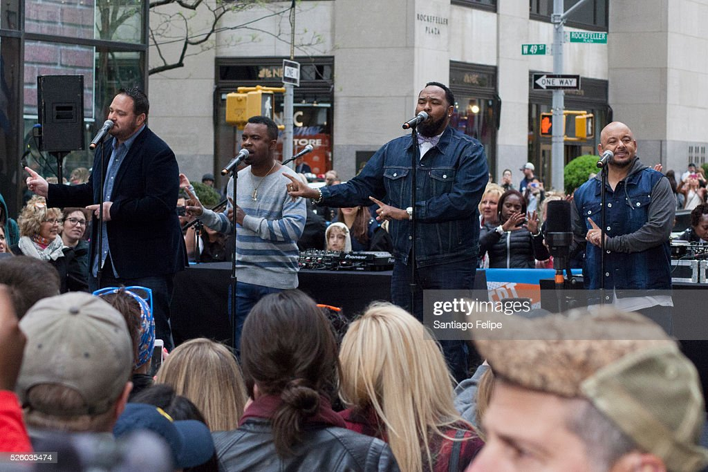 All 4 One perform onstage during I Love The 90's Concert Tour Performs On NBC's 'Today' at Rockefeller Plaza on April 29, 2016 in New York City.