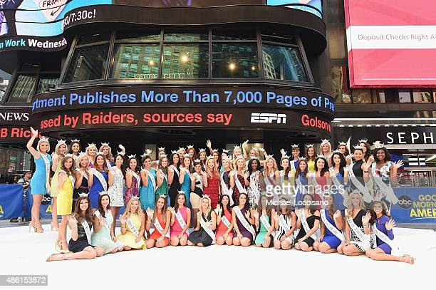 All 52 contestants from the 2016 Miss America Competition pose in Times Square as Miss America takes over New York City on the road to the 95th...