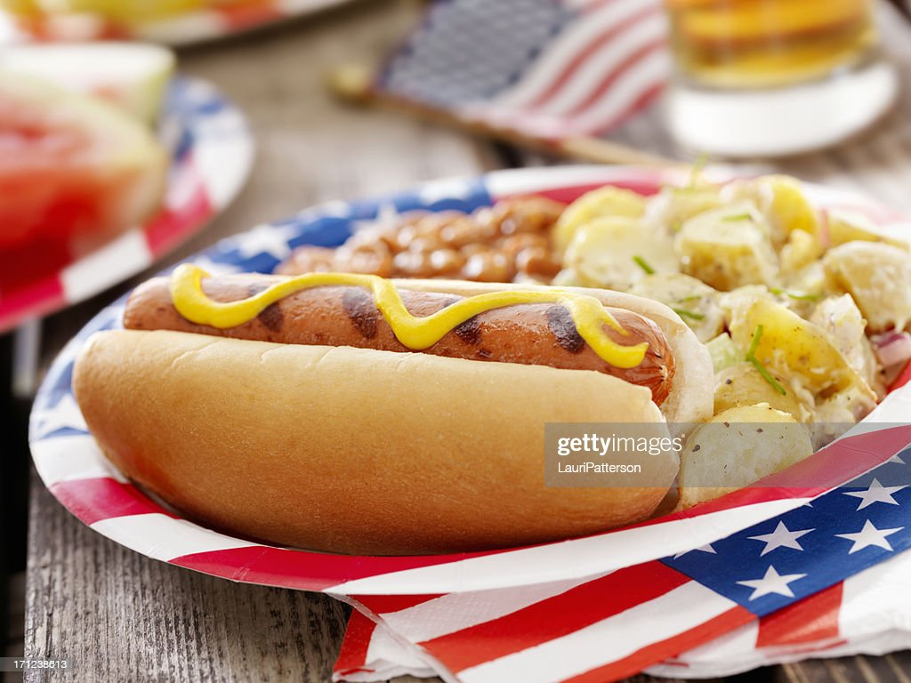 All American Hotdog and a Beer : Stock Photo