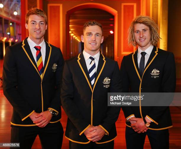 All Australian Team members Daniel Talia of the Crows Joel Selwood of the Cats and Dyson Heppell of the Bombers pose for the All Australian Team...