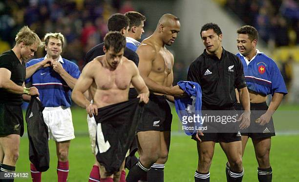 All Black and French players swap jerseys after the All Blacks 3712 win over France in the rugby test at WestpacTrust Stadium Wellington Saturday...