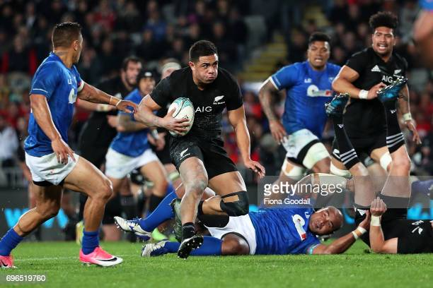 All Black Anton LienertBrown makes abreak during the International Test match between the New Zealand All Blacks and Samoa at Eden Park on June 16...