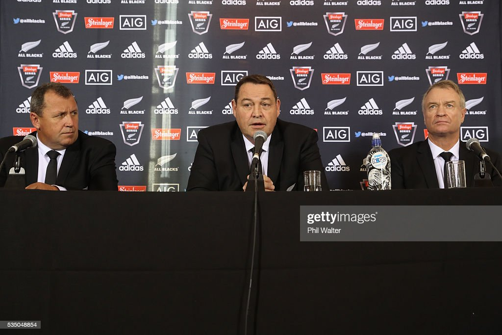 All Black assistant coach Ian Foster, coach <a gi-track='captionPersonalityLinkClicked' href=/galleries/search?phrase=Steve+Hansen&family=editorial&specificpeople=228915 ng-click='$event.stopPropagation()'>Steve Hansen</a> and selector Grant Fox during the New Zealand All Blacks squad announcement at The Heritage Hotel on May 29, 2016 in Auckland, New Zealand.