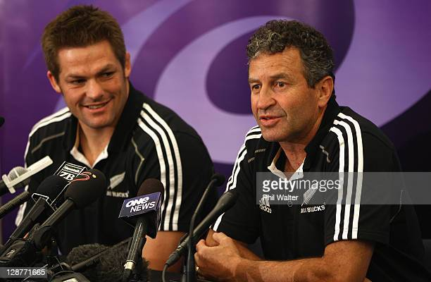 All Black assistant coach Wayne Smith and captain Richie McCaw during a New Zealand IRB Rugby World Cup 2011 media session at the Spencer On Byron...