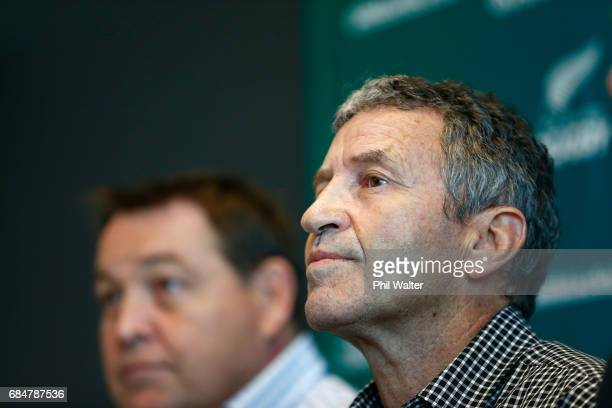 All Black assistant coach Wayne Smith announces his retirement as he speaks to the media alongside Steve Hansen during a New Zealand Rugby Union...