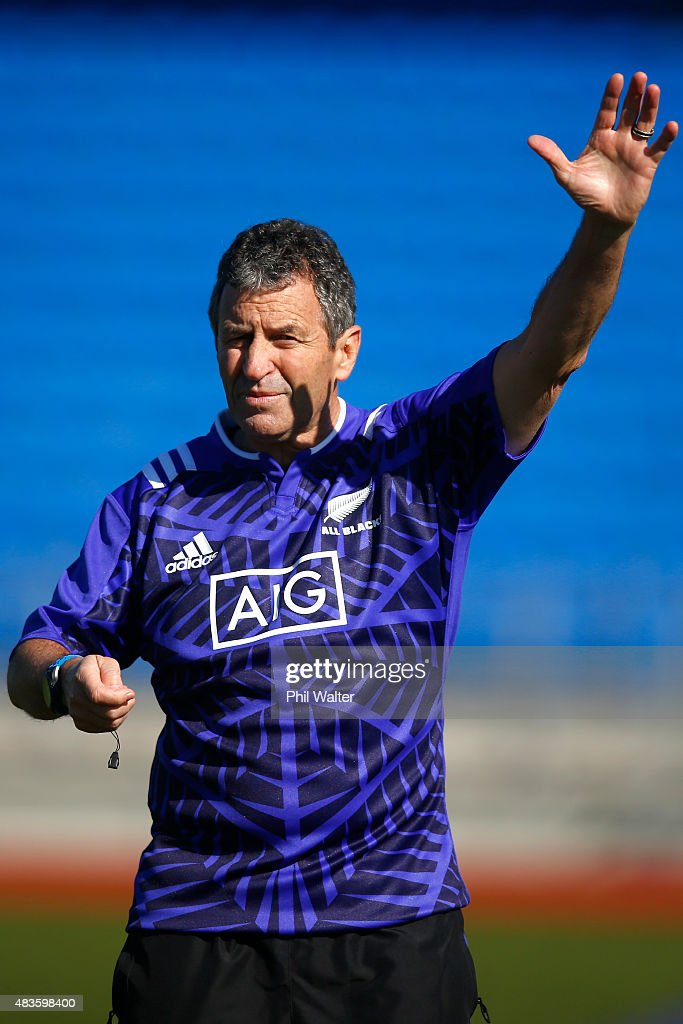 All Black assistant coach Wayne Smith during a New Zealand All Blacks training session at Trusts Stadium on August 11, 2015 in Auckland, New Zealand.