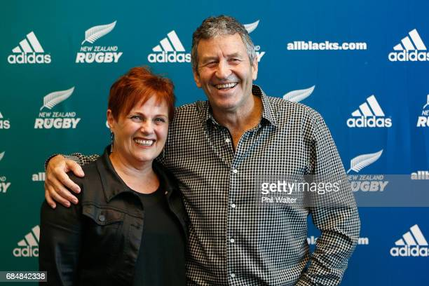 All Black assistant coach Wayne Smith poses with his wife Trish after announcing his retirement during a New Zealand Rugby Union press conference at...