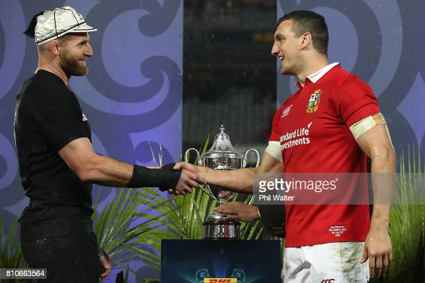 All Black captain Kieran Read and Lions captain Sam Warburton following the drawn Test match between the New Zealand All Blacks and the British Irish...