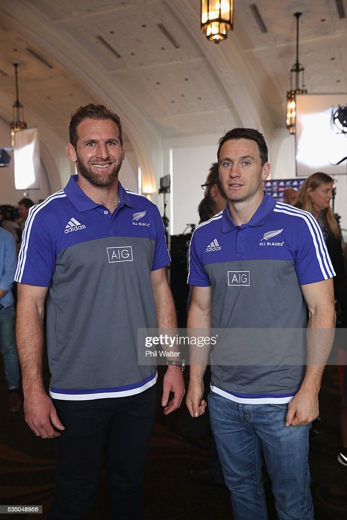 All Black captain Kieran Read (L) and vice captain Ben Smith (R) during the New Zealand All Blacks squad announcement at The Heritage Hotel on May 29, 2016 in Auckland, New Zealand.