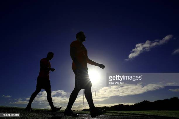 All Black captain Kieran Read arrives for a New Zealand All Blacks training session at Trusts Stadium on July 4 2017 in Auckland New Zealand