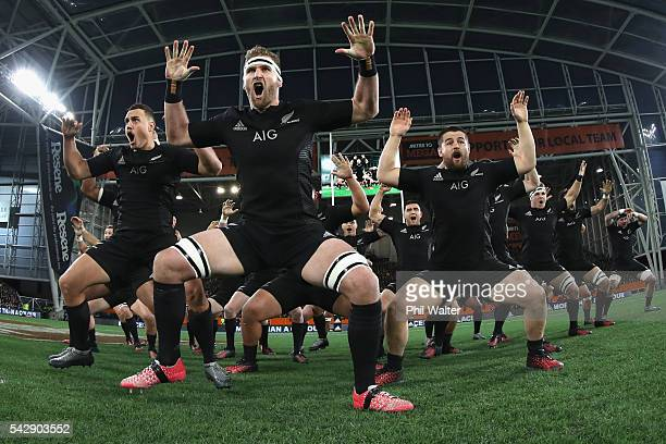 All Black captain Kieran Read leads the haka during the International Test match between the New Zealand All Blacks and Wales at Forsyth Barr Stadium...
