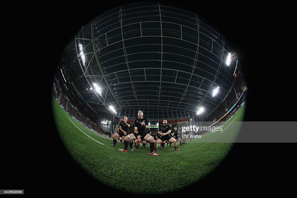 All Black captain <a gi-track='captionPersonalityLinkClicked' href=/galleries/search?phrase=Kieran+Read&family=editorial&specificpeople=789465 ng-click='$event.stopPropagation()'>Kieran Read</a> leads the haka during the International Test match between the New Zealand All Blacks and Wales at Forsyth Barr Stadium on June 25, 2016 in Dunedin, New Zealand.