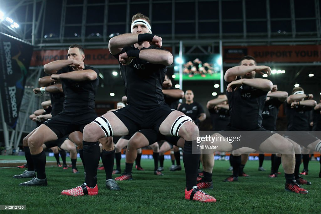 All Black captain Kieran Read leads the haka during the International Test match between the New Zealand All Blacks and Wales at Forsyth Barr Stadium on June 25, 2016 in Dunedin, New Zealand.