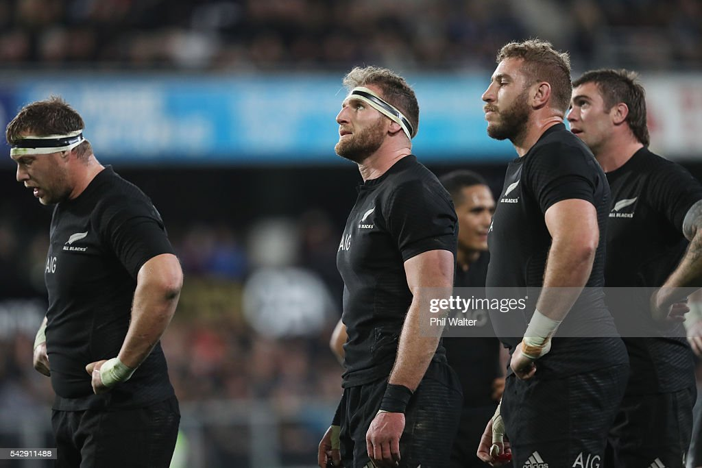 All Black captain <a gi-track='captionPersonalityLinkClicked' href=/galleries/search?phrase=Kieran+Read&family=editorial&specificpeople=789465 ng-click='$event.stopPropagation()'>Kieran Read</a> looks on during the International Test match between the New Zealand All Blacks and Wales at Forsyth Barr Stadium on June 25, 2016 in Dunedin, New Zealand.